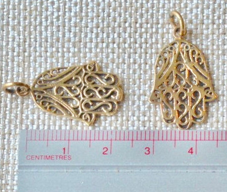 0123bb1919dee 2 - 20mm Natural Bronze Hamsa Charms, Hamsa Hand of Fatima, Hamsa Pendant,  Hamsa Jewelry ,Protective Charms, Choose Qty, AK15-059 A