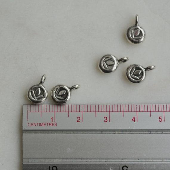 5 Thai Karen Hill Tribe Silver Lotus Round Charms