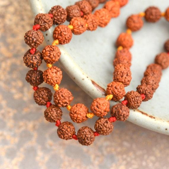 "11-12mm Natural Rudraksha Bodhi Seed Mala Meditation 108 Beads Brown Round 45/"""