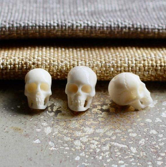 2 White Carved Bone Skull Beads White Skull Beads Water Etsy