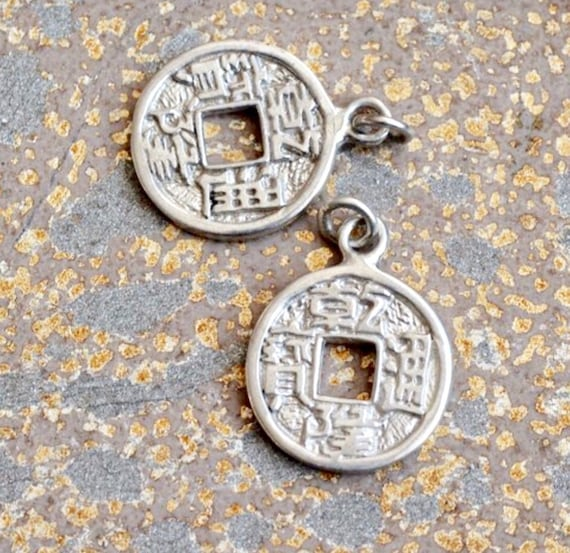 2 sterling silver chinese coin charms chinese coins lucky etsy rh etsy com