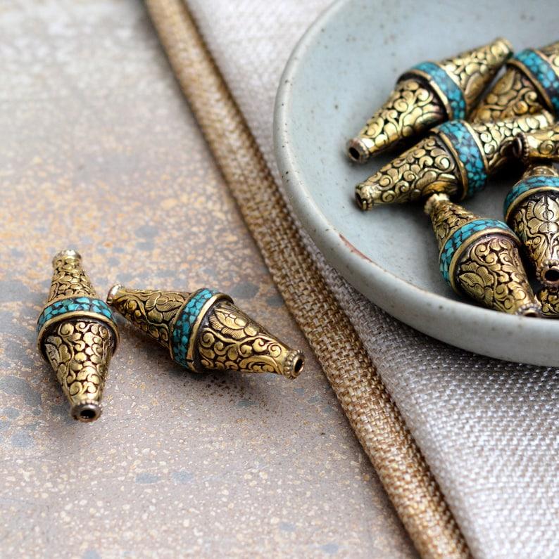 Artisan Beads FOZ17-1118Z Nepal Beads Tibetan Buddhist Beads 2-18mm Tibetan Cloud Brass Repousse Bicone Beads Lotus Turquoise Inlay