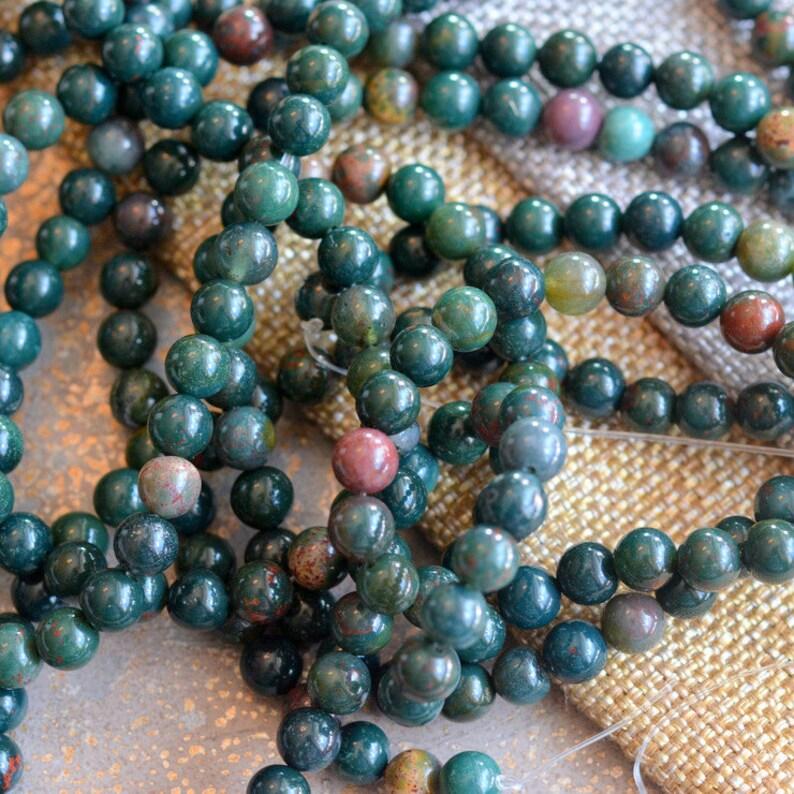 60-6mm Bloodstone Jasper Beads MAN16-501 Mala Beads Natural Blood Stone Beads 15./'5/'/' Strand Dark Forest Green