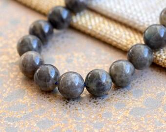 Labradorite Beads 10mm Natural Labradorite Blue Green Grey Gemstone Bead Blue Flash Gemstone Labradorite Jewelry Beads (1) Strand MAN170126H