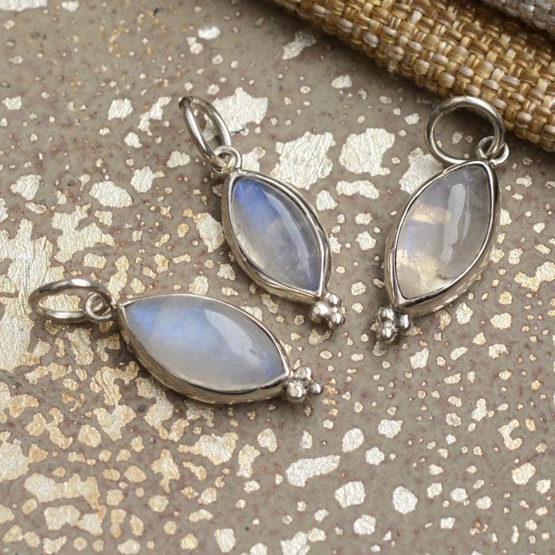 Choose Length Marquis Pendant Rainbow Moonstone Necklace Moonstone Pendant 1 Fine Silver Rolo Chain June Birthstone BS18-1004