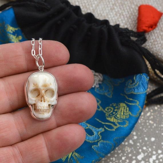 5 Carved Bone Mask Pendants Skull Pendants 40mm