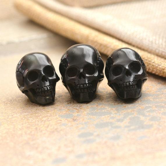 Carved Black Horn Skull Beads Water Buffalo Horn Skulls Etsy