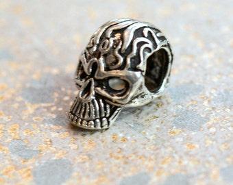 Skull, Skull Beads, Skull Bracelet Beads, Sterling Silver, Flaming Skull, Biker, Skull, Flames, Gothic Skull Beads, One Bead, KP14-32