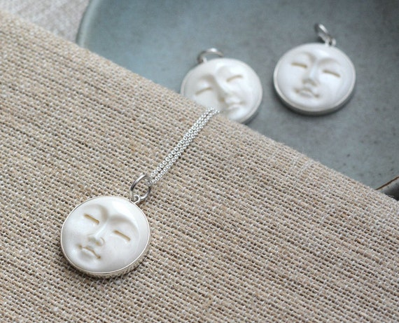 Carved Bone Moon Face Necklace Carved Bone Pendant Sterling Etsy