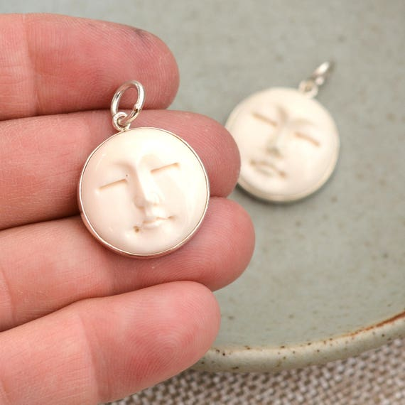 Sterling Silver Carved Bone Moon Face Pendants Moonface Bone Etsy
