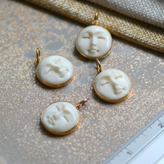 Bone Carving Bone Pendant Moonface Cow Bone Bone Moon Face Charms 2 20mm Sterling Silver Carved Bone Moon Face Pendants Bs16 1222a Jewelry Making Beading Craft Supplies Tools