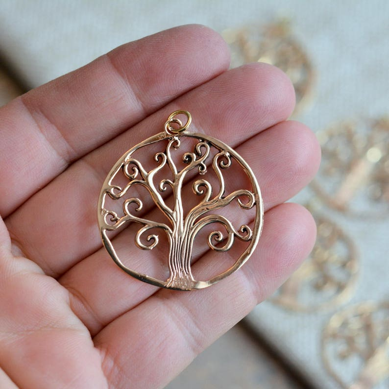 """Round Medallion Bodhi Tree of Life and Love Clip On Charm  Pendant in Bronze 1/"""""""