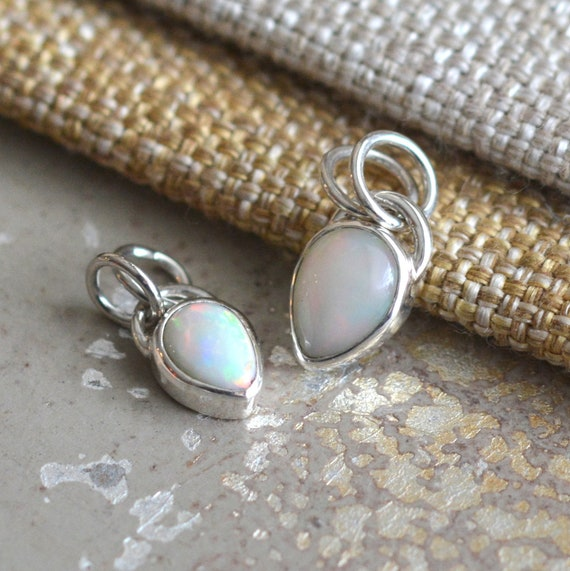 Sterling Silver Pendant Ethiopian Opale White green and Orange beaten silver