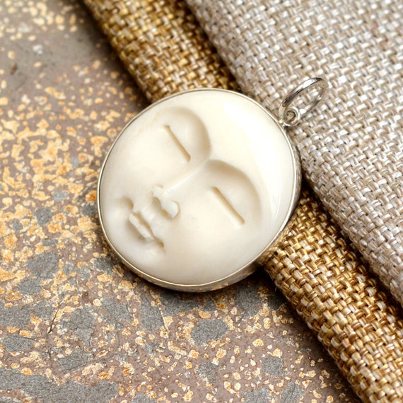 1-25mm Sterling Silver and Carved Bone Moon Face Necklace BS171124Z Silver Rolo Chain Moon Face Jewelry Carved Bone Moon Face Pendant