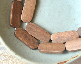 24 - Brown Stained Wooden Beads Wood Beads DIY Wood Jewelry Macrame Beaded Jewelry Tile Beads Beaded Necklace, 2 Strands, BB18-0528A5