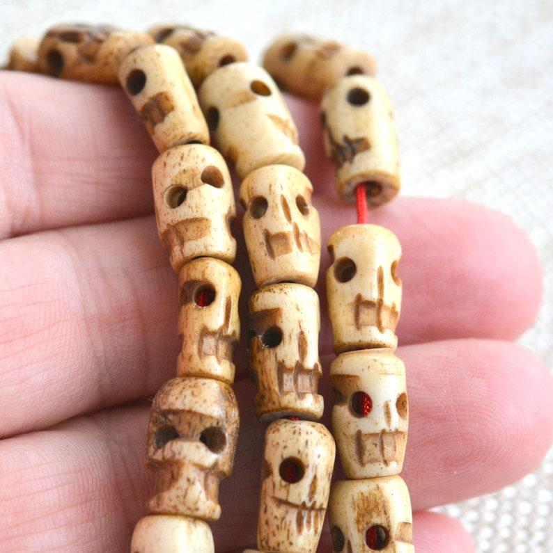 Skull Beads Tibetan Skull Beads Carved Bone Tibetan Prayer Etsy