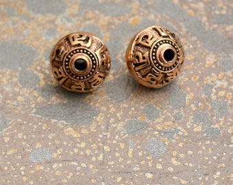 Om Mantra Beads, Tibetan Beads, Bronze Beads, Om Beads, Om Mane Padme Hum, Prayer Beads, Mala Beads, Meditation Mantra, 10 Pack, AK15-099