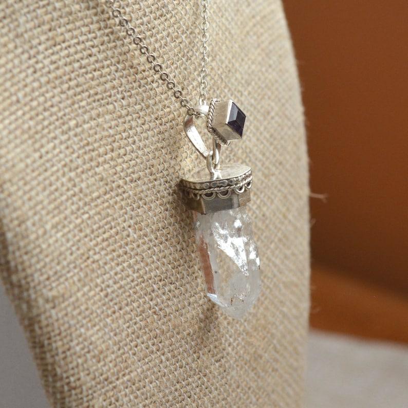 BID19-0120J Himalayan Clear Quartz Sterling Silver Amethyst April Birthstone Raw Crystal Necklace Tibetan Crystal Point Necklace