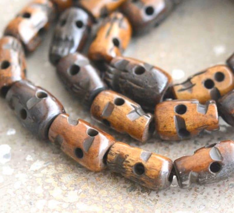 Tibetan Dark Brown Bone Skull Beads Carved Skull Beads Nepal Etsy