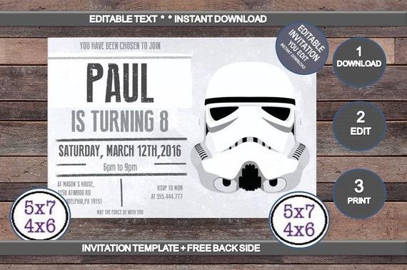 Star Wars Invitation Disney Star Wars Stormtrooper Invite Editable Text Pdf Birthday Party Invitation Instant Download