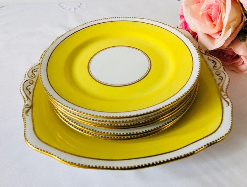 Royal Albert Crown China Yellow /& Gold Serving Set 7 Pieces c1917. Staffordshire