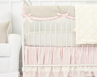 Pink Crib Skirt With Lace Etsy