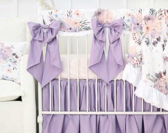 Dusty Purple Crib Bedding | Dusty Purple, Purple Floral, Baby Girl Crib Set  | Vintage Nursery | Rowanu0027s Dusty Purple Crib Bedding Set