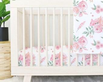 blush rose crib bedding blush peach watercolor floral baby girl nursery bedding girl crib bedding - Baby Girl Crib Bedding