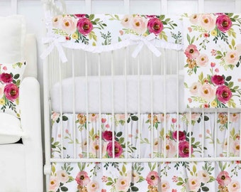 Floral crib bedding etsy farmhouse floral bumperless baby bedding blush pink magenta floral crib bedding baby girl frannys farmhouse nursery mightylinksfo