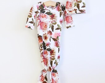 41fda3e39b11c Rustic Pink and Rust Real Floral Knot Gown | Newborn and Baby Knot Gown Set  | Autumn's Rustic Real Floral