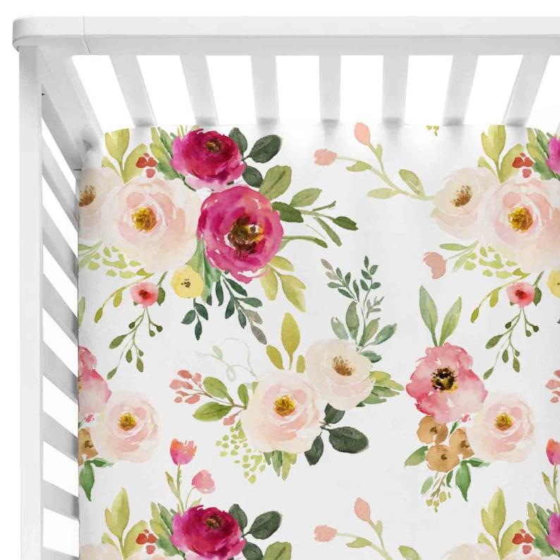 a9dc89872 Farmhouse Floral Crib Sheet Baby Girl Blush Pink & Magenta | Etsy