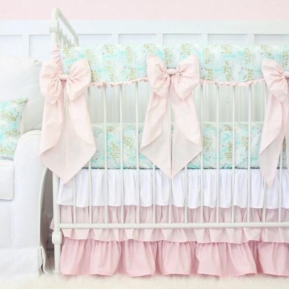 Unicorn Baby Bedding Girl Crib Set In Blush Pastel Gold Etsy