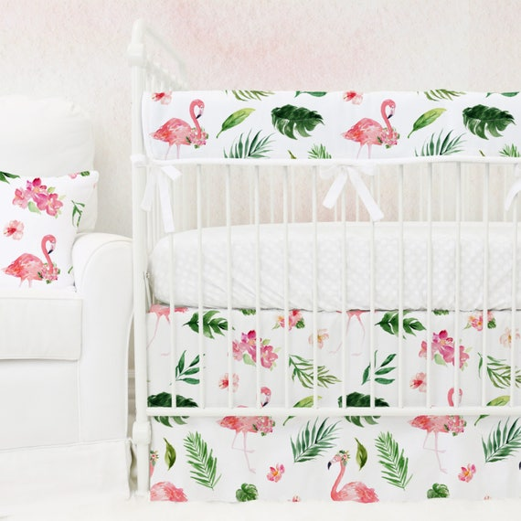 Tropical Floral Flamingo S Bumperless Baby Bedding Pink