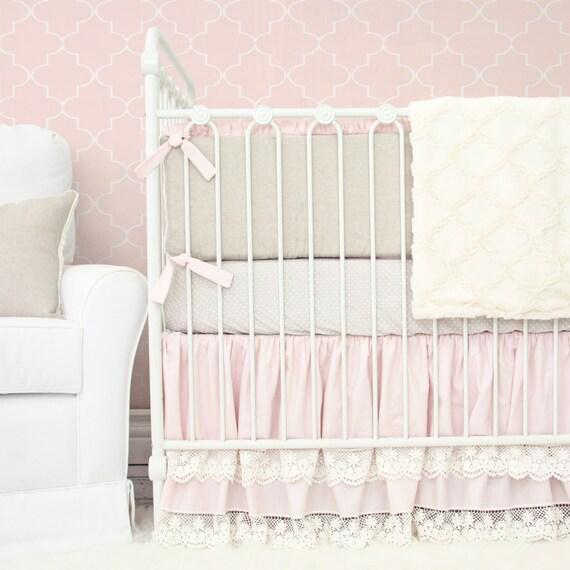 nice Pink Minky Crib Bedding Part - 11: Vintage Pink Linen u0026 Lace Baby Bedding Vintage Blush Crib   Etsy