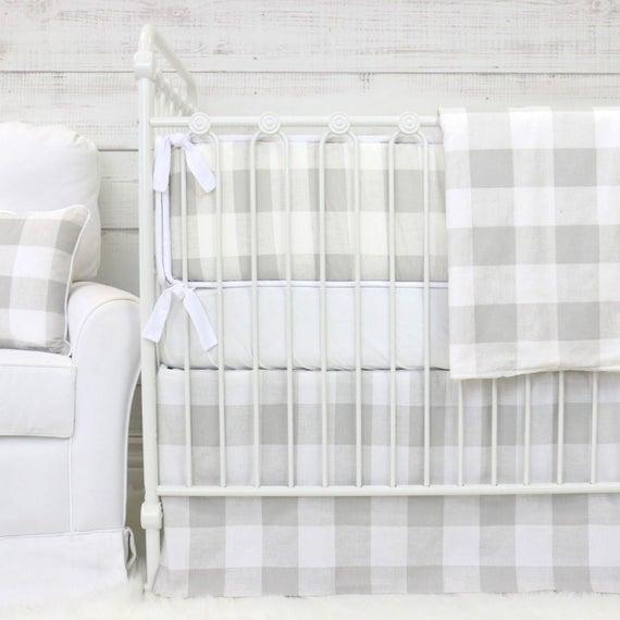 Fletcher S Farmhouse Bumper Baby Bedding Gray Amp White Etsy