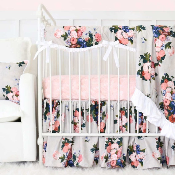 Taupe Floral Crib Bedding Taupe Blush Pink Floral Baby | Etsy