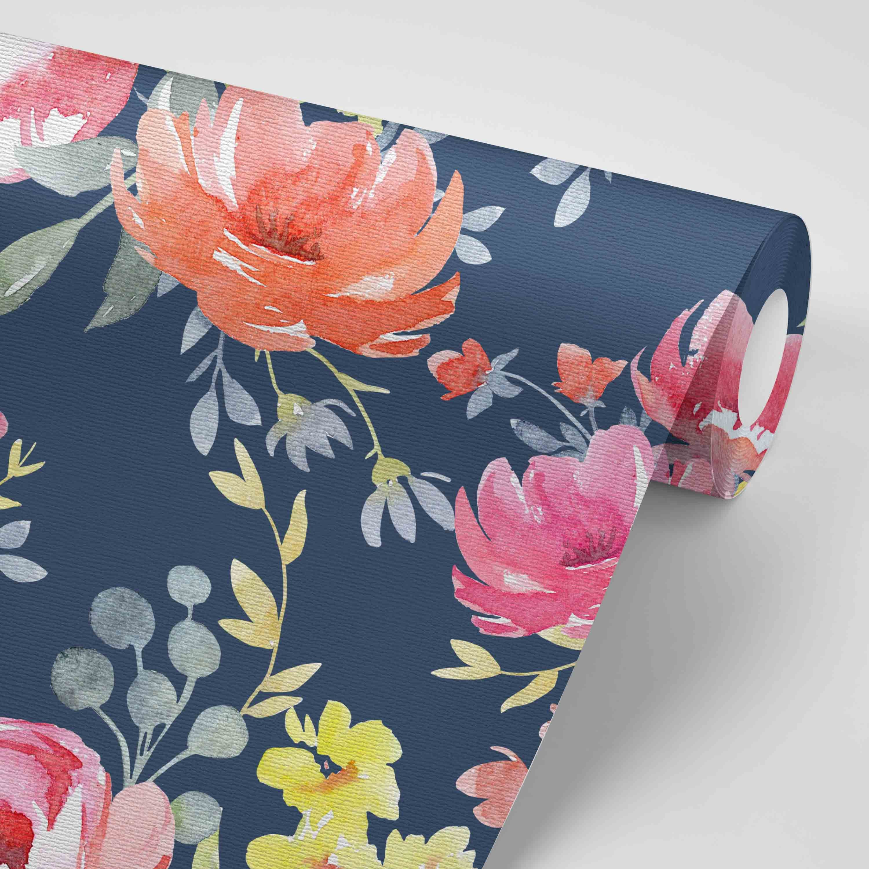 Navy Floral Removable Nursery Wallpaper Fuchsia Navy Etsy