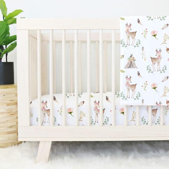 Woodland Baby Bedding Sets.Boho Woodland Deer Bumperless Baby Bedding Girl Woodland Baby Deer Girl Teething Guard Crib Set Blakely S Girl Woodland Nursery