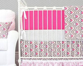 Pink and Gray Baby Bedding Set | Vintage Floral Nursery | 25% off SALE