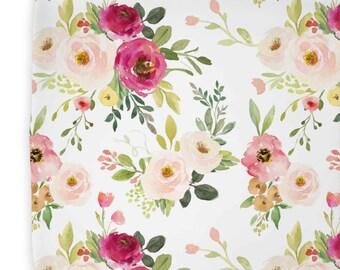 Blush Pink, Magenta, Floral Nursery Decor | Girl Farmhouse Changing Pad Cover | Franny's Farmhouse Floral Changing Pad Cover