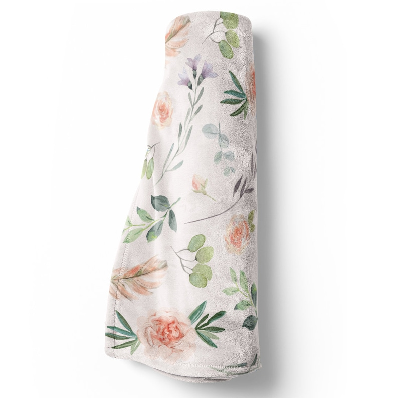 Blush Pink Feathers and Floral Blanket in Toddler and Throw Size Britt/'s Blush Floral Garden Blanket Super Soft Boho Girl Baby Blanket