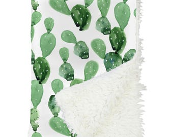 Cactus Baby Blanket | Watercolor, Cactus, Southwestern, Gender Neutral, Boy Crib Blanket | Cactus Nursery | Arid Desert Cactus Collection