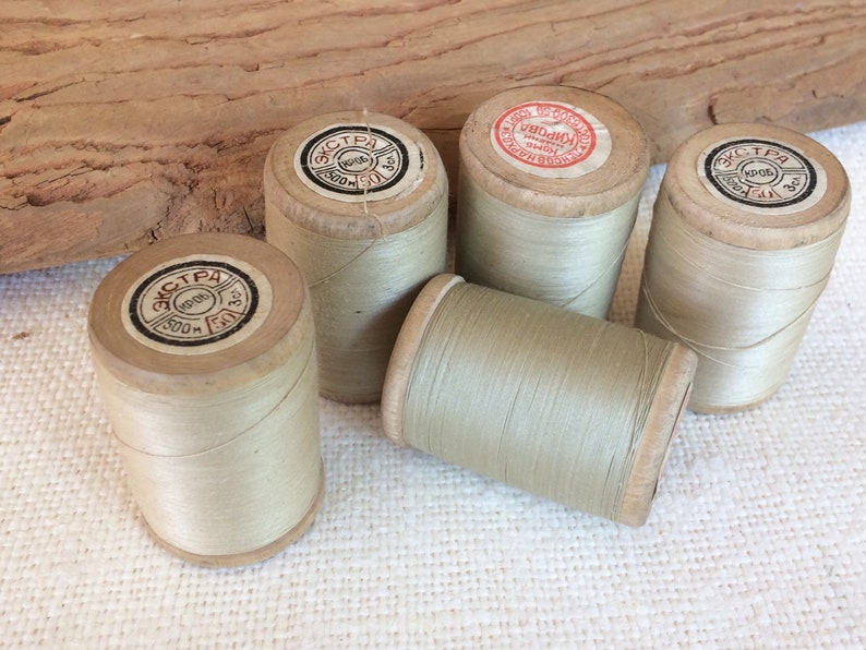 0be389b3b0888 Beige cotton thread wooden reel, soviet vintage sewing thread spools set of  5, USSR sewing collectibles