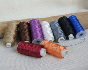 Polyester thread 3 ply embroidery thread for crafts leather sewing choose your color 210 D/3 made in Turkey