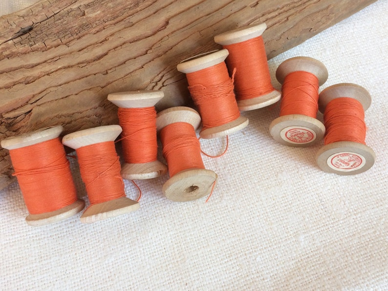 c350abe1e122f Orange cotton thread on wooden spools, set of 7 thick orange soviet vintage  thread reel, sewing supplies made in USSR