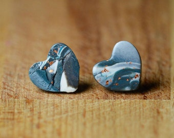 Metal Free Earrings - Heart Earrings - Hypoallergenic Stud Earrings - For Sensitive Ears - Polymer Clay Earrings - Nickel Free Earrings