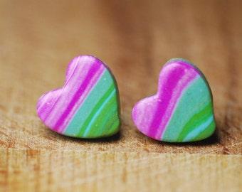 Hypoallergenic Earrings - Heart Stud Earrings - Earrings For Sensitive Ears - Polymer Clay Earrings - Nickel Free Earrings