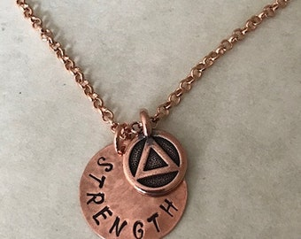 "AA NECKLACE 3/4"" Pendant and Recovery Charm - What's Your STRENGTH Word? Choice of Metals - Motivational Word-Recovery Date-Roman Numerals"