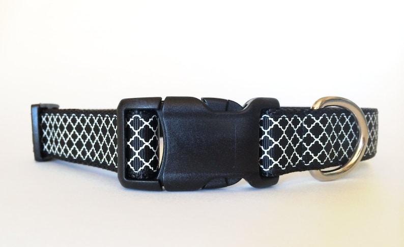 Black and White Quartrefoil Dog Collar  Adjustable image 0