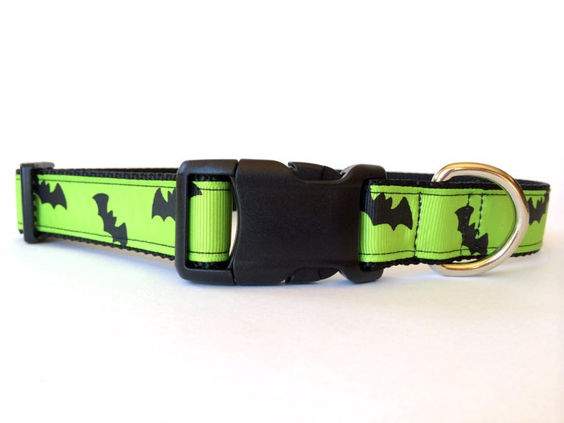 Halloween Dog Collar Black and Green Bats  Adjustable Scary image 0